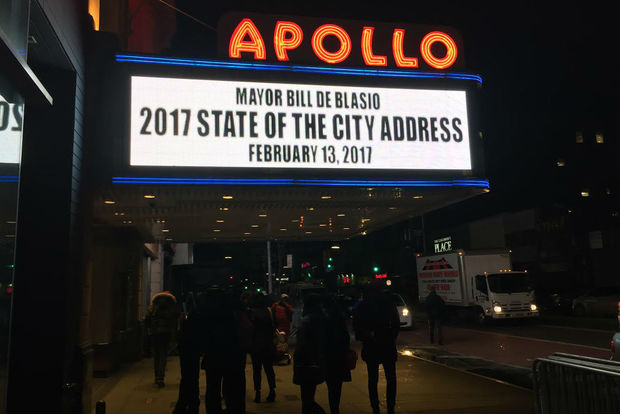 Speaking at the Apollo Theater during his 2017 State of the City address, Mayor Bill de Blasio pledged to create good paying jobs to help New Yorkers be able to afford to live here.