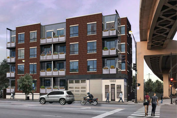 A developer wants to build this four-story condominium building at 18th and State Street in the South Loop. New condo projects are still pretty rare in post-recession Chicago.