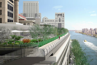 A rendering of Rockefeller University's River Campus, with the esplanade below.