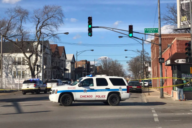 A police car at the scene of a  shooting in North Lawndale on Valentine's Day.