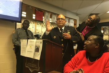 Inspector Maximo Tolentino (center) asked Bushwick religious leaders to assure their undocumented congregants that they can still call the police.