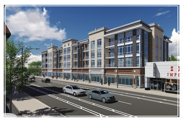 A rendering of the 51-foot mixed-use building planned for 5201 W. Lawrence Ave. in Jefferson Park