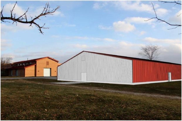 An illustration of a 13,000-square-foot horse-riding facility at the Chicago High School for Agricultural Sciences in Mount Greenwood gives an idea of how the metal structure will look, according to plans submitted to the Chicago Plan Commission.