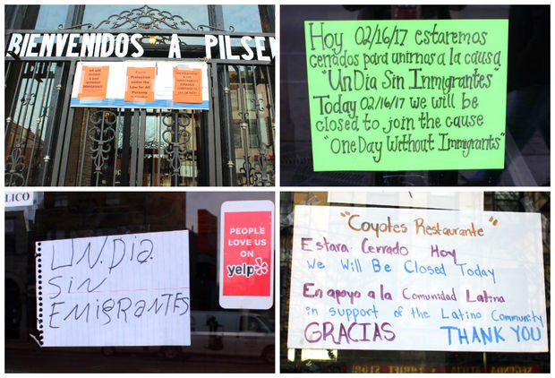 Signs posted on the doors of Pilsen businesses Thursday.