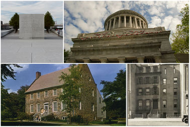 From top left, clockwise: FDR Four Freedoms Park; Grant's Tomb; Theodore Roosevelt's birthplace; the Conference House.