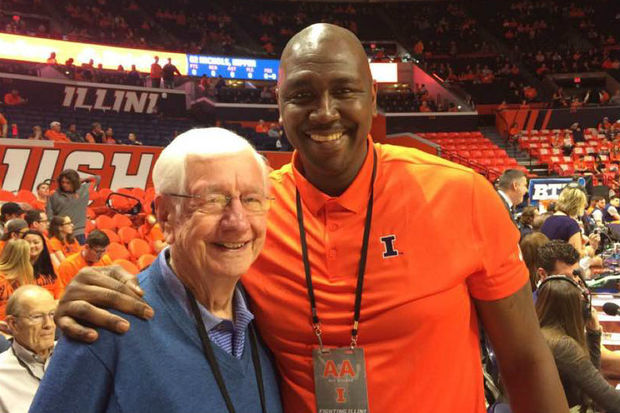 Former Simeon and Illinois star Deon Thomas with iconic Illinois media figure Jim Turpin at a recent Illini men's basketball game.