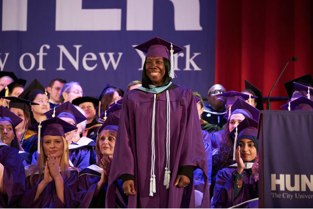 Cynthia Williams, 74, at Hunter College's 214th Commencement ceremony
