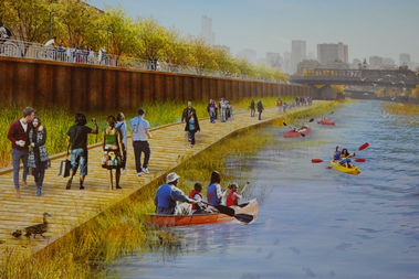 A riverside walkway and wetlands along the Chicago River canal on the east side of Goose Island constitute one open-space proposal for the North Branch Industrial Corridor.