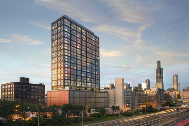Now under construction, a 30-story apartment tower at 1035 W. Van Buren will open in August.