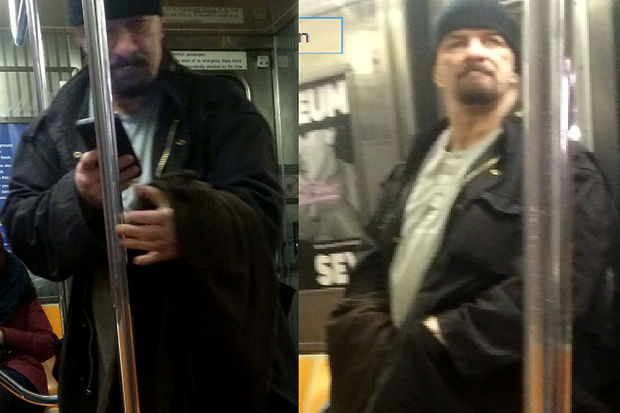 Police are looking for a man who masturbated in front of passengers on a downtown B train in Manhattan on Feb. 13.