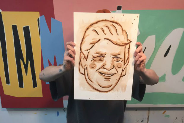 Yes, this portrait of the 45th President of the United States is made from dog feces, but it won't stink up your home — it's been coated in several layers of varnish.