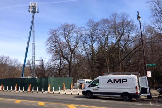 Neighbors were worried when a cellphone tower appeared suddenly at Prospect Park Southwest and 16th Street, but it's just temporary and should be gone by Monday, said a spokeswoman for the Prospect Park Alliance.
