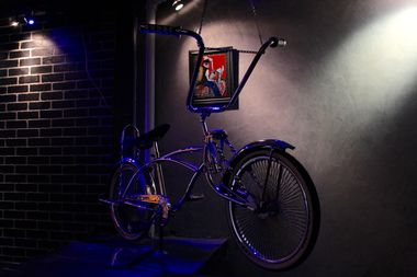 A low rider bike is part of the decor at Cholo Noir, a Chicano eatery slated to open in the East Village.