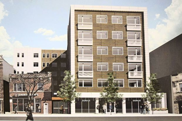A rendering of the revised plans for 6145 N. Broadway, showing a new facade.