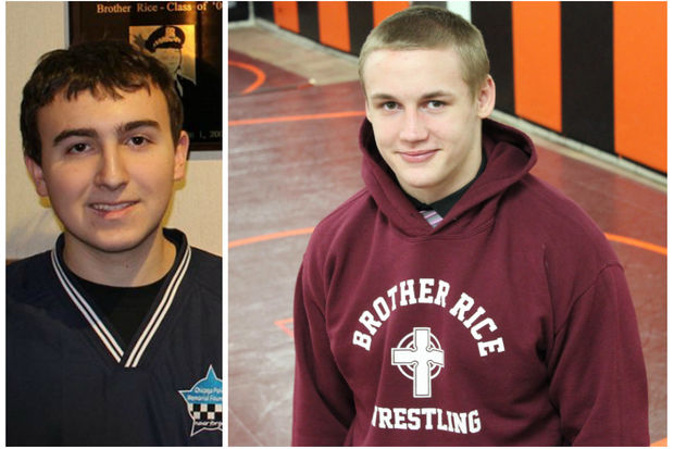 Jacob Schmitz (left) died June 13 after developing a rare and aggressive form of leukemia. Scott Sierzega dedicated his senior year wrestling season to his late friend. Sierzega placed second in the IHSA state tournament last weekend.
