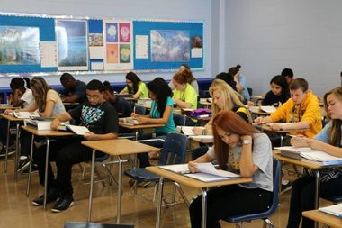 Students at Luther North College Prep, 5700 W. Berteau Ave.