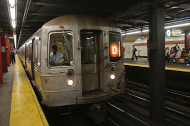 A man died after falling off of a southbound D train on Sunday, police said.