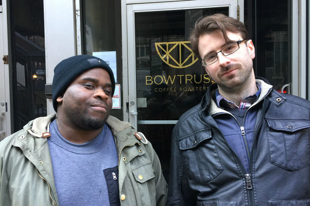 Former Bow Truss employees Trumaine Hardy (left) and Ben Creech are shown in front of a shuttered Bow Truss shop in River North. Hardy, Creech, and eight other Bow Truss employees sued the coffee shop chain over unpaid wages Monday.