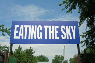 """Artist John Giorno's """"EATING THE SKY"""" was included in the Broadway Billboard series in 2012."""