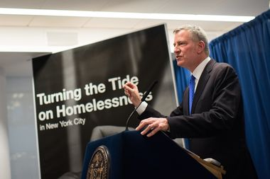 Mayor Bill de Blasio announces a plan on Tuesday to build 90 new homeless shelter to reduce the total number of facilities used by the Department of Homeless Services by 45 percent by 2018, he said.