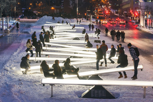 Impulse, or these motion-activated glow-in-the-dark seesaws, are coming to Navy Pier this spring.