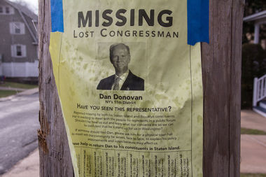 Tongue-in-cheek posters searching for Rep. Dan Donovan have been spotted in Bay Ridge and Staten Island after he refused residents' plea to host a town hall meeting on health care.