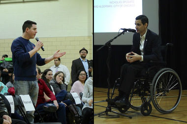 Dunning Neighborhood Organization board member Jason Quaglia (l) and Ald. Nicholas Sposato (38th) at a Jan. 31 meeting unveiling a proposal to build a Taft freshmen campus in Dunning