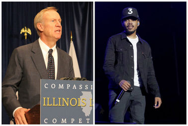 Gov. Bruce Rauner (left) and Chance the Rapper