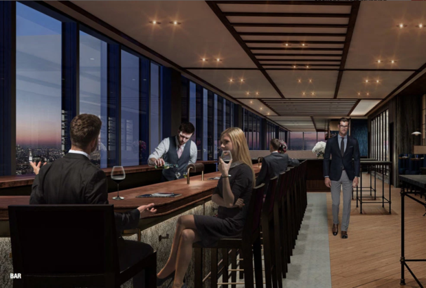 A rendering of the new, still unnamed Danny Meyers restaurant that will offer expansive views from the 60th floor of 28 Liberty.