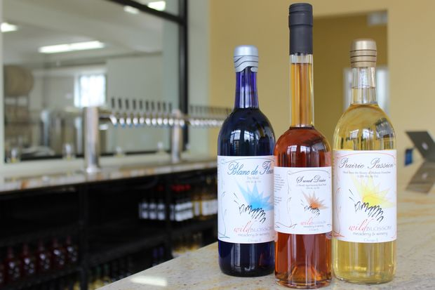 Wild Blossom Meadery's top brands include (from left) Blanc de Fluer, a dry mead; Sweet Desire, aged in one year in a Kentucky barrel; and Prairie Passion, a mead made from Midwest honey.