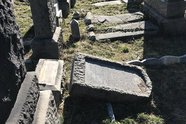 More than 40 tombstones Washington Cemetery had fallen due to previous damage, officials said.
