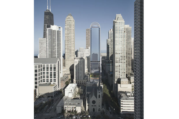 A rendering of the 60-story tower proposed for Superior and Wabash.