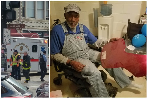 Leroy Garry, 76, got away with minor injuries after a truck hit his motorized wheelchair early Saturday, but his chair was badly damaged, he said.