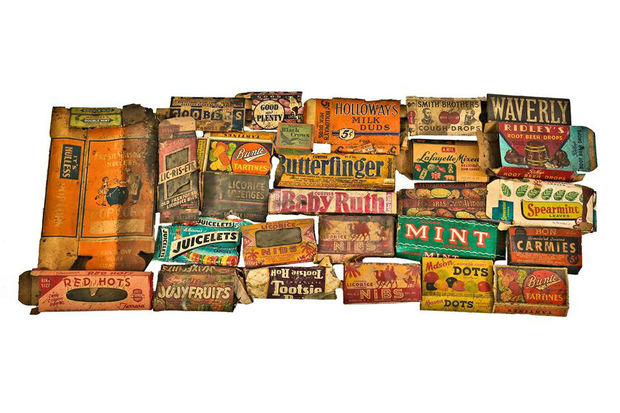 Candy wrappers and boxes found inside the historic Congress Theater.