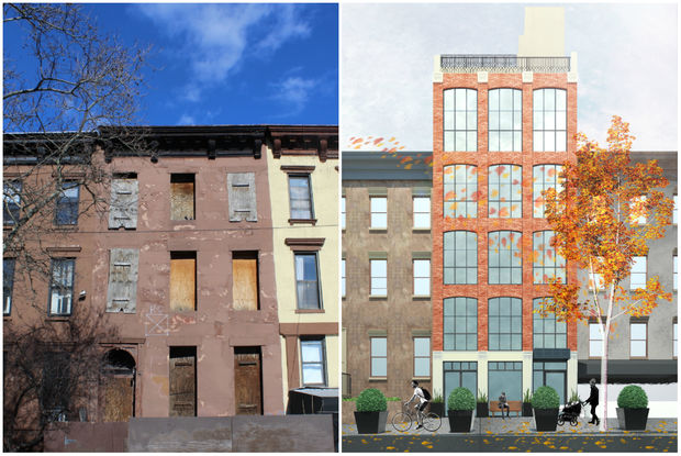 A decaying building at 497 Third St. will be replaced with new condos, shown in the rendering at right.
