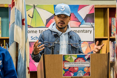 Chance The Rapper announced at Robeson High School Friday that the Chicago Bulls had donated $1 million to Chicago Public Schools, matching the Chatham native's recent donation.