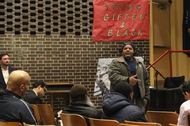 At a public scoping meeting held Tuesday night at M.S. 352 in Crown Heights, a construction worker who identified himself as Raul H. defended the Bedford-Union Armory developers, BFC Partners, saying the company has provided many jobs to people like him.