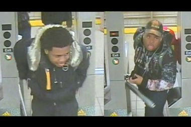 Police are looking for two suspects they say robbed a man on the B platform of the Broadway-Lafayette station.