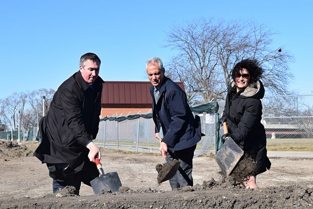 Mayor Rahm Emanuel joined 50th Ward Ald. Debra Silverstein and Michael P. Kelly, superintendent of the Chicago Park District, to break ground at a park in North Park Wednesday.