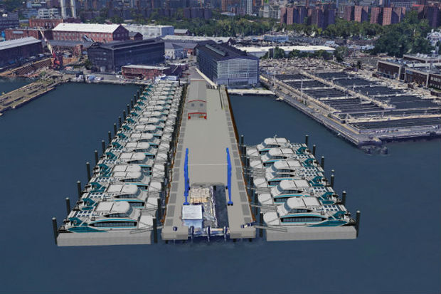 A rendering of the Citywide Ferry Service's new home port at the Brooklyn Navy Yard.