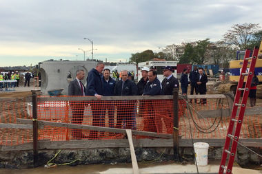 A worker for the water tunnel that connects Staten Island to Brooklyn sued the city after he hurt himself while trying to exit the project, claiming the city failed to provide a safe way out. Lawmakers toured the tunnel in 2016 when it finished construction.