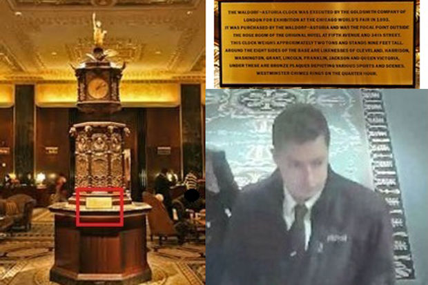 Police are looking to speak with a man after a plaque from the Waldorf Astoria Clock was stolen on Feb. 28, 2017.