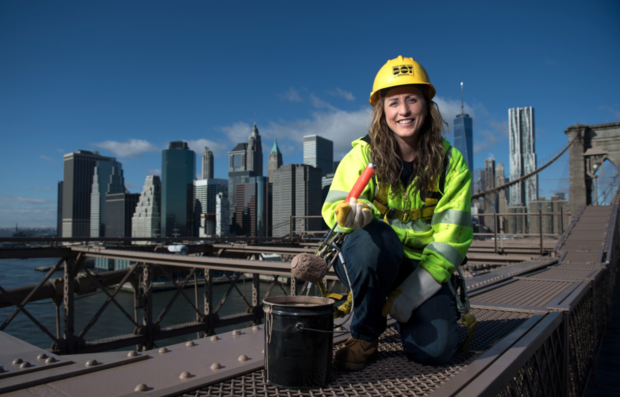 Elisangela Oliveira, a bridge painter for the New York City Department of Transportation, is featured in the