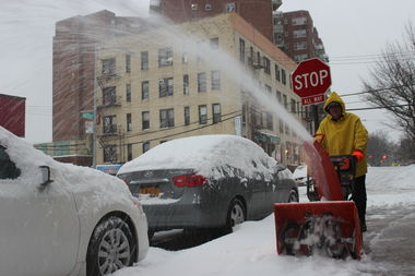 Nick Costuri, 57, was pushing a snow blower along the sidewalk outside his Briarwood building.