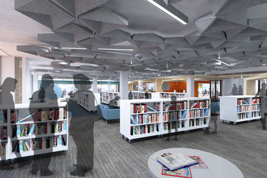 The new Francis W. Parker School library will have bookshelves on coasters, allowing them to be moved to create open space.