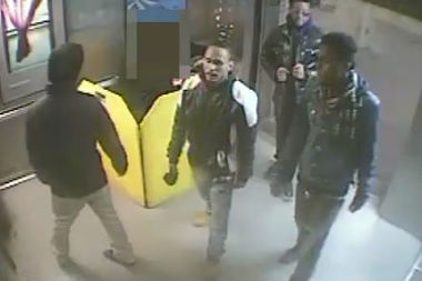 Police released a video of four men they say robbed a man for his camcorder near Fort Tryon Park on Feb. 22.