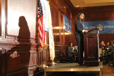 Kim Foxx reflects on her first 105 days as Cook County State's Attorney at the City Club of Chicago Wednesday.