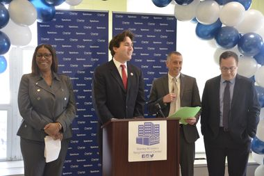 Public Advocate Letitia James, Councilman Ben Kallos, Charter's Adam Falk, the Isaac Center's Gregory Morris