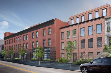 A rendering of a development planned at 524-540 Halsey St., which would bring nearly 40 apartments to the block in place of former garage buildings.