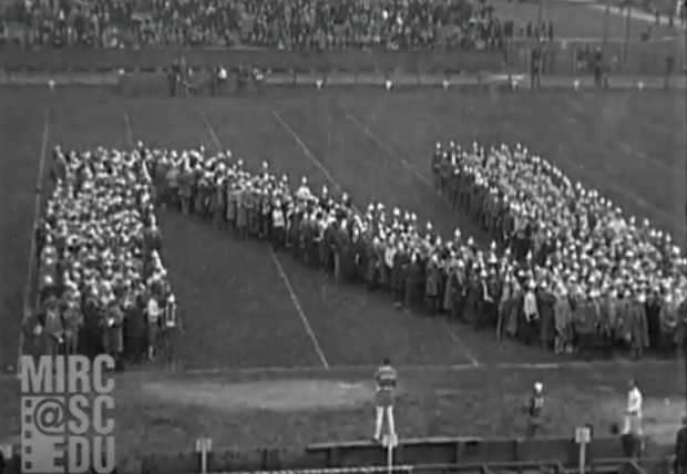 Northwestern fans create a giant N in 1923.